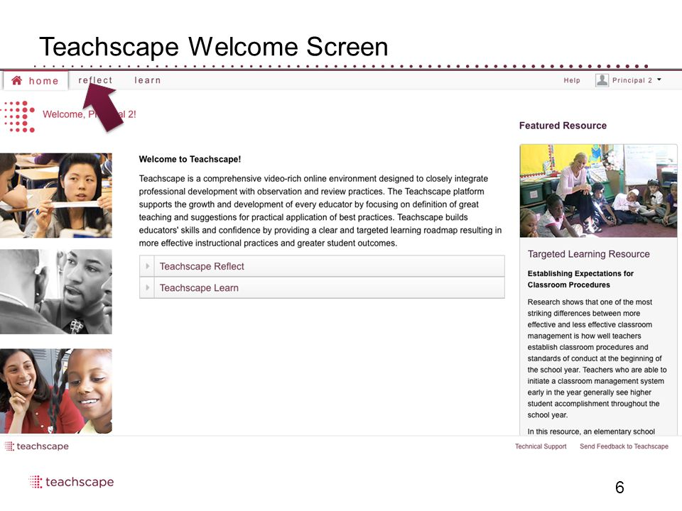 Teachscape Welcome Screen 6