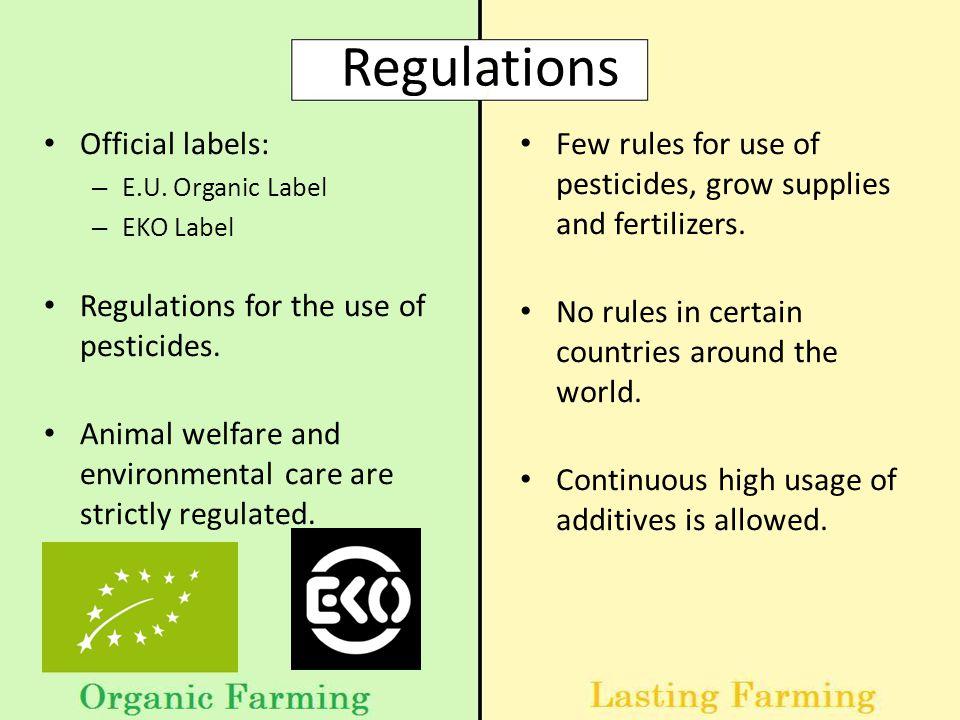 Regulations Official labels: – E.U.