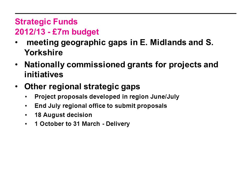 Strategic Funds 2012/13 - £7m budget meeting geographic gaps in E.