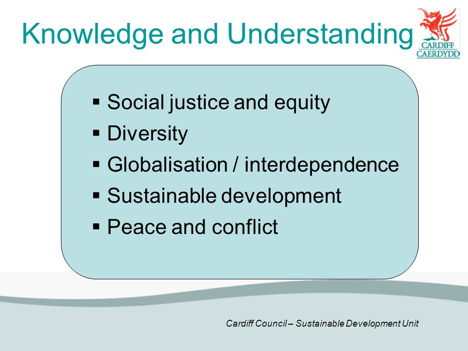 Cardiff Council – Sustainable Development Unit Knowledge and Understanding  Social justice and equity  Diversity  Globalisation / interdependence  Sustainable development  Peace and conflict