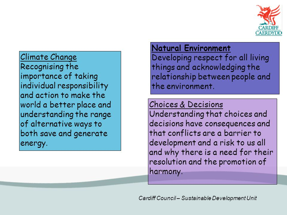 Cardiff Council – Sustainable Development Unit Choices & Decisions Understanding that choices and decisions have consequences and that conflicts are a barrier to development and a risk to us all and why there is a need for their resolution and the promotion of harmony.