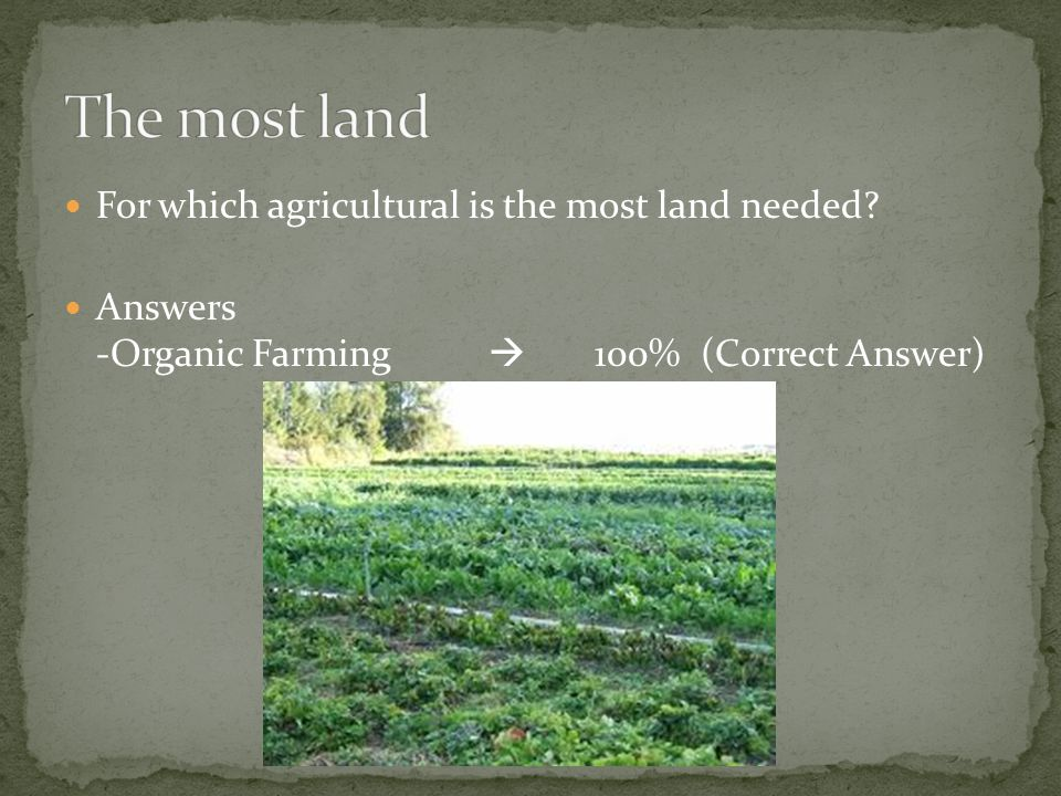 For which agricultural is the most land needed Answers -Organic Farming  100%(Correct Answer)