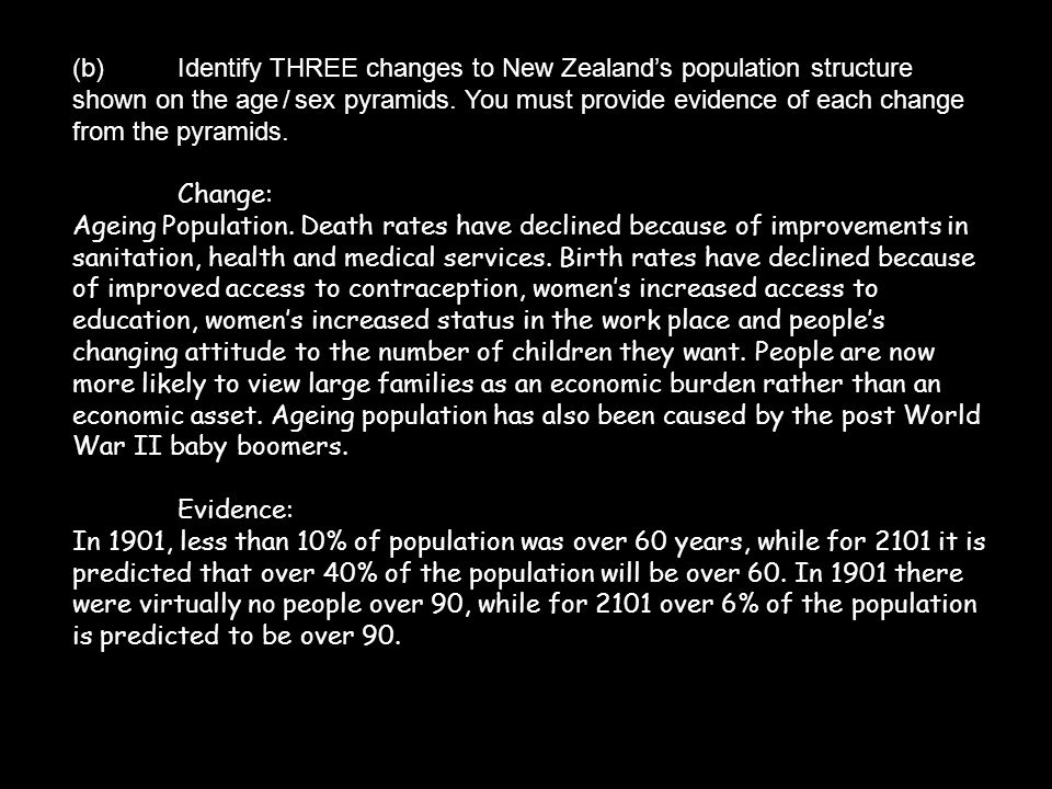 (b)Identify THREE changes to New Zealand's population structure shown on the age / sex pyramids. You must provide evidence of each change from the pyr