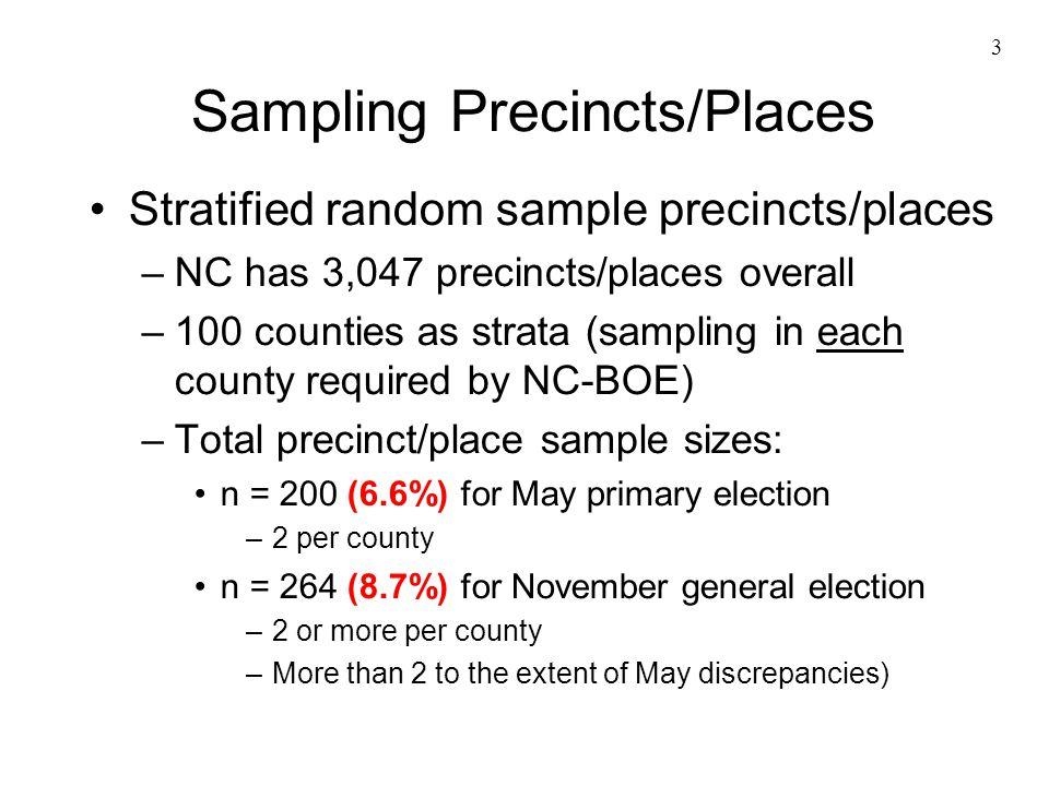 3 Sampling Precincts/Places Stratified random sample precincts/places –NC has 3,047 precincts/places overall –100 counties as strata (sampling in each