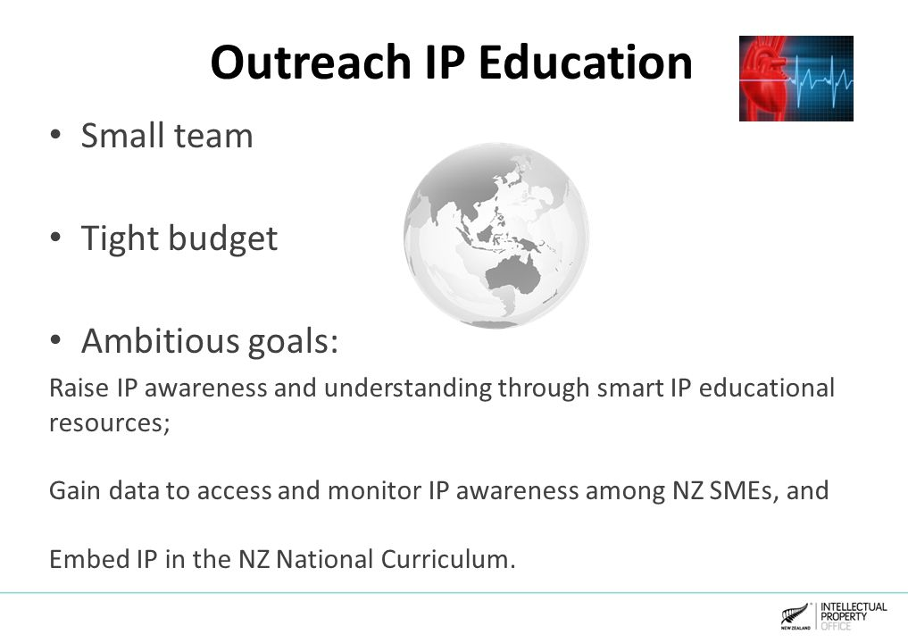 Outreach IP Education Small team Tight budget Ambitious goals: Raise IP awareness and understanding through smart IP educational resources; Gain data to access and monitor IP awareness among NZ SMEs, and Embed IP in the NZ National Curriculum.