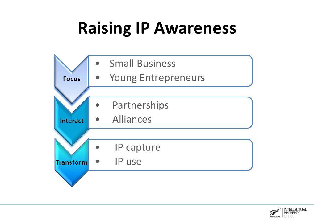 Raising IP Awareness Focus Small Business Young Entrepreneurs Interact Partnerships Alliances Transform IP capture IP use