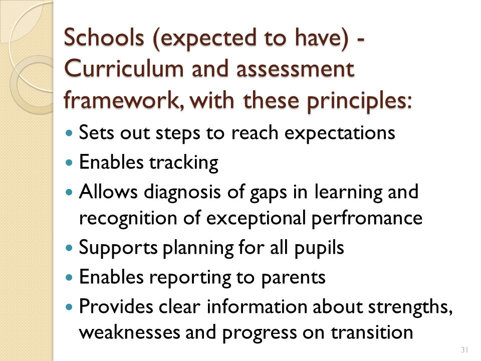 Schools (expected to have) - Curriculum and assessment framework, with these principles: Sets out steps to reach expectations Enables tracking Allows diagnosis of gaps in learning and recognition of exceptional perfromance Supports planning for all pupils Enables reporting to parents Provides clear information about strengths, weaknesses and progress on transition 31