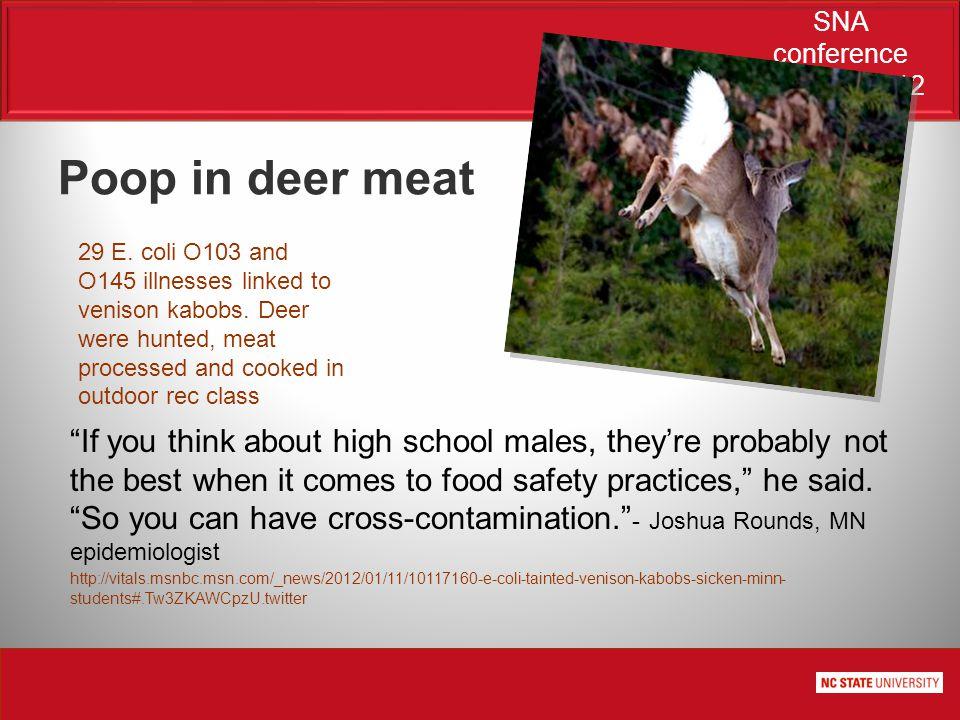 SNA conference June 21, 2012 29 E. coli O103 and O145 illnesses linked to venison kabobs.