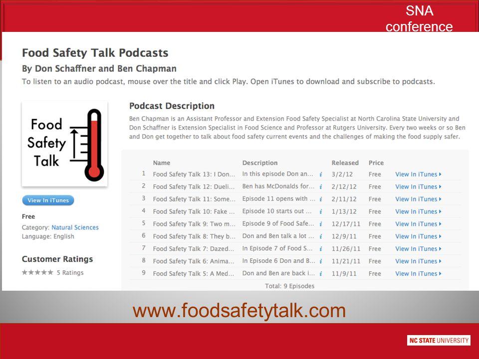 SNA conference June 21, 2012 www.foodsafetytalk.com