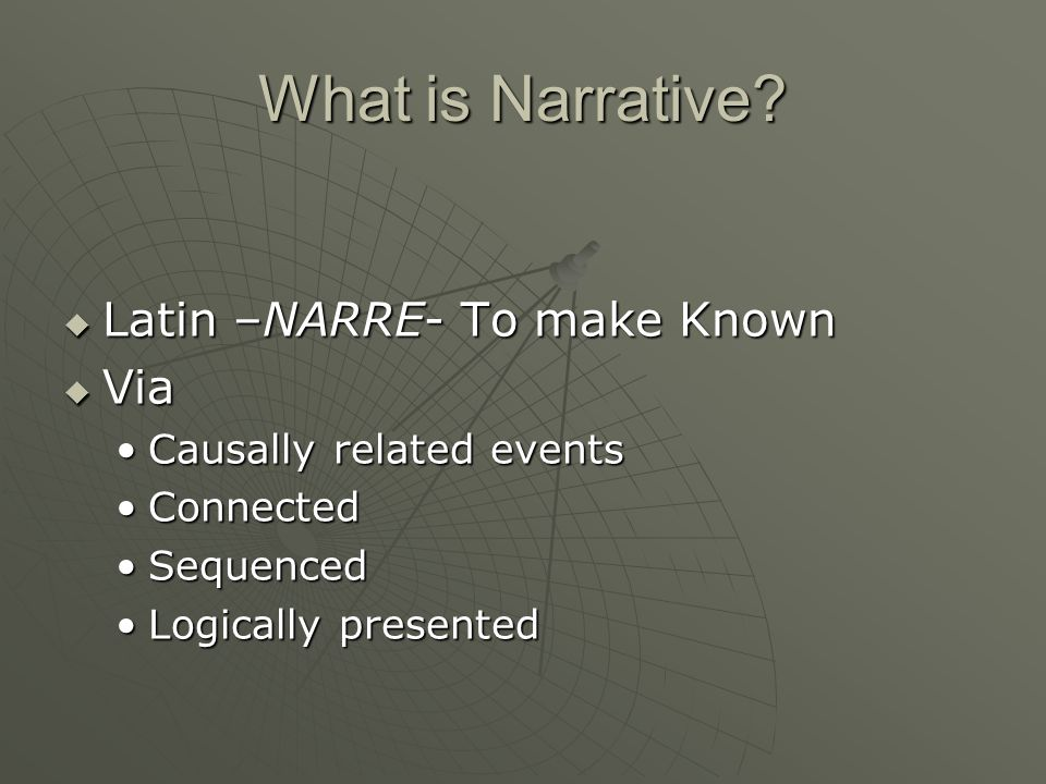 NARRATIVE Film and Media Studies