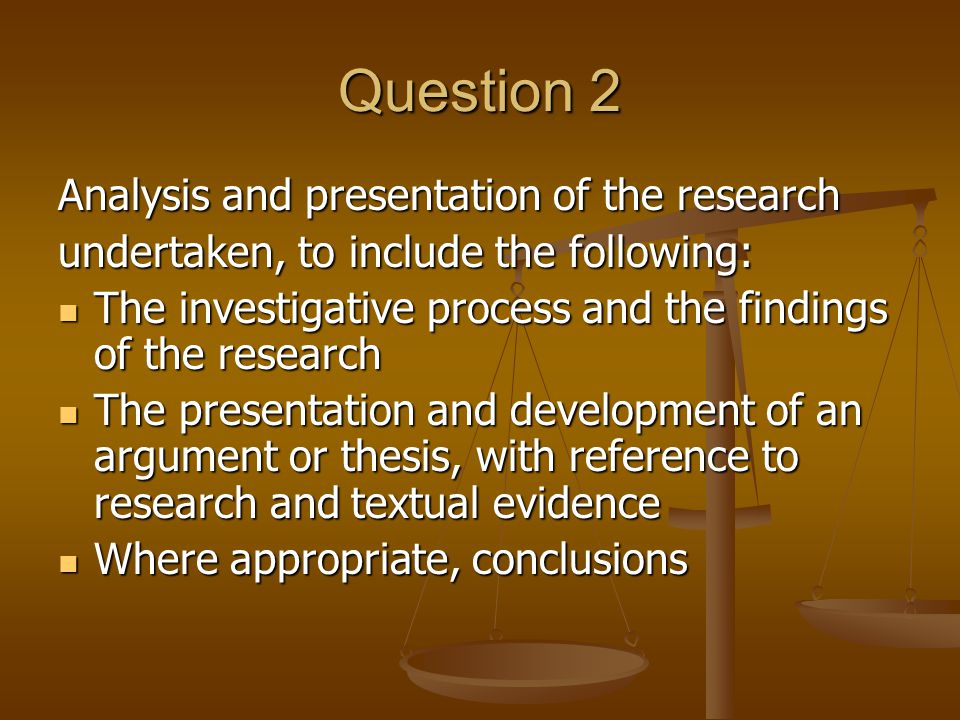 Conclusion Sum up your research and tell the examiner what you found particularly useful and what you do not.