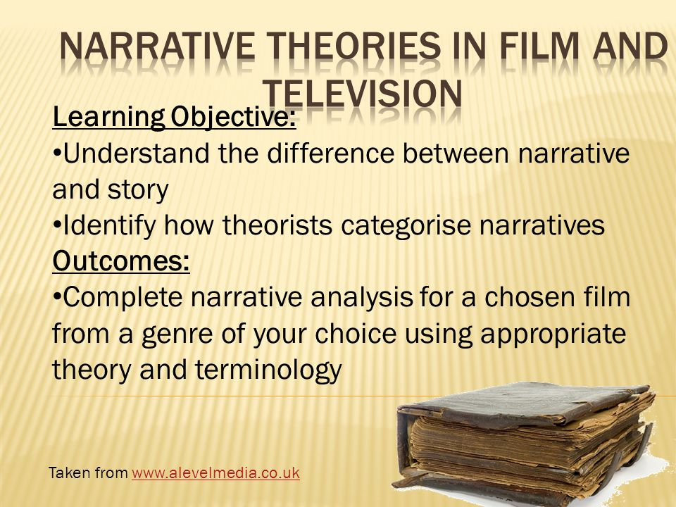 Learning Objective: Understand the difference between narrative and story Identify how theorists categorise narratives Outcomes: Complete narrative analysis for a chosen film from a genre of your choice using appropriate theory and terminology Taken from www.alevelmedia.co.ukwww.alevelmedia.co.uk