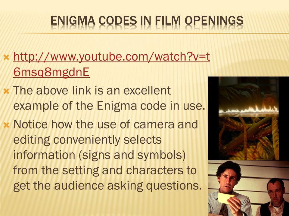  http://www.youtube.com/watch?v=t 6msq8mgdnE http://www.youtube.com/watch?v=t 6msq8mgdnE  The above link is an excellent example of the Enigma code