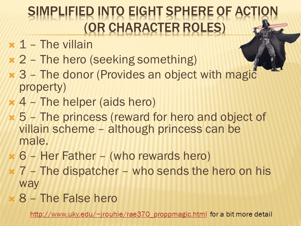  1 – The villain  2 – The hero (seeking something)  3 – The donor (Provides an object with magic property)  4 – The helper (aids hero)  5 – The princess (reward for hero and object of villain scheme – although princess can be male.