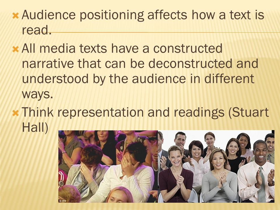  Audience positioning affects how a text is read.