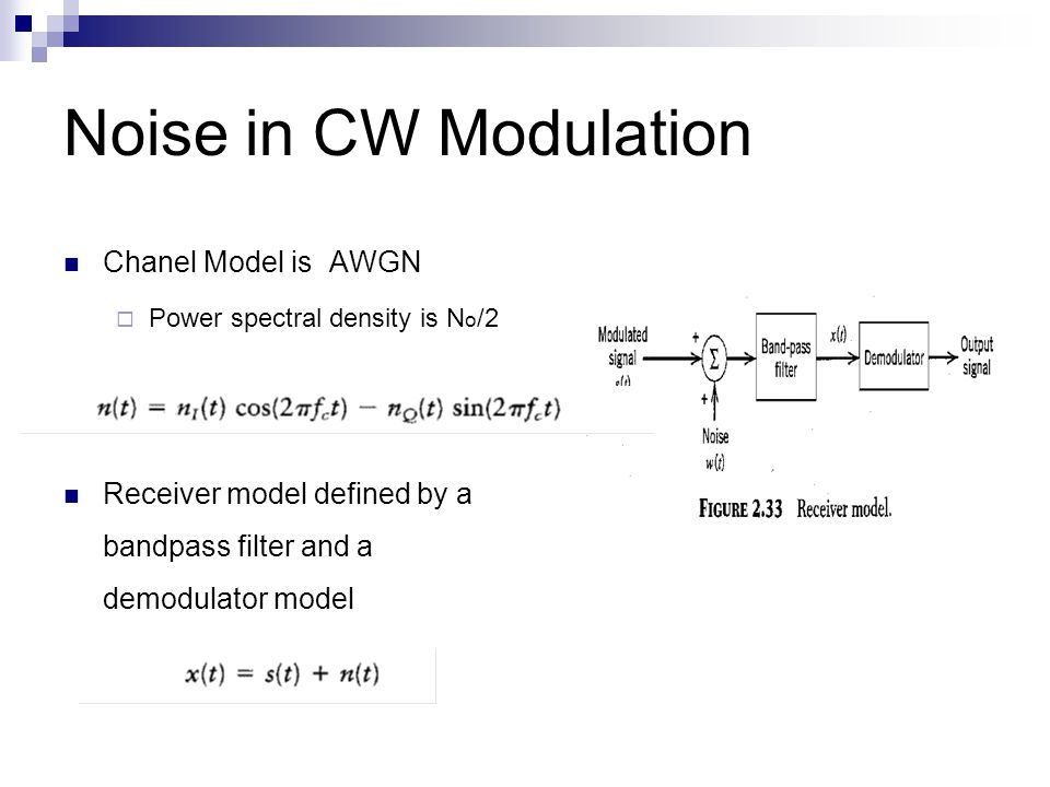 Noise in CW Modulation Chanel Model is AWGN  Power spectral density is N o /2 Receiver model defined by a bandpass filter and a demodulator model