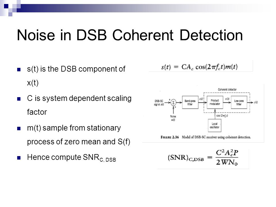 Noise in DSB Coherent Detection s(t) is the DSB component of x(t) C is system dependent scaling factor m(t) sample from stationary process of zero mean and S(f) Hence compute SNR C, DSB
