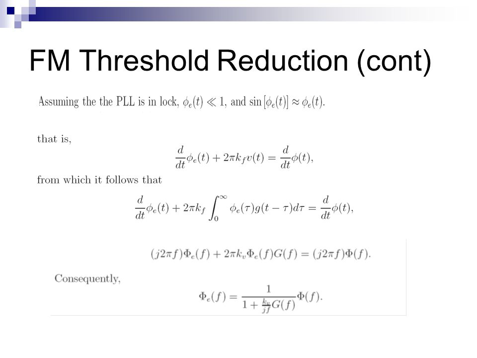 FM Threshold Reduction (cont)