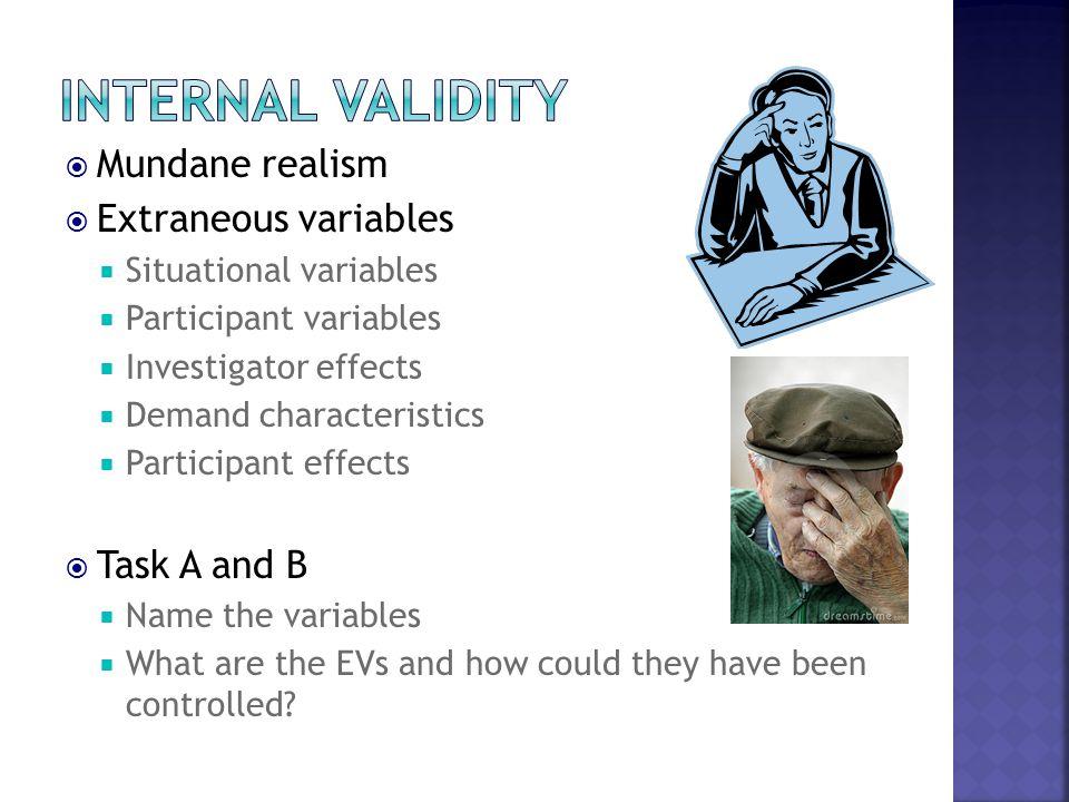  Mundane realism  Extraneous variables  Situational variables  Participant variables  Investigator effects  Demand characteristics  Participant