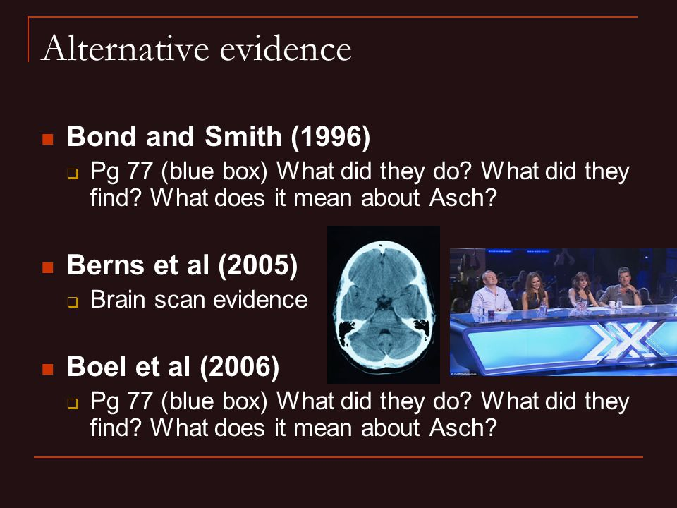 Alternative evidence Bond and Smith (1996)  Pg 77 (blue box) What did they do? What did they find? What does it mean about Asch? Berns et al (2005) 