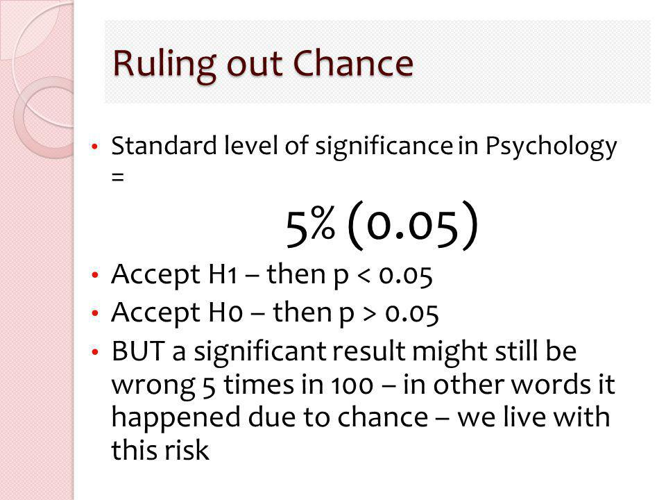 Ruling out Chance Standard level of significance in Psychology = 5% (0.05) Accept H1 – then p < 0.05 Accept H0 – then p > 0.05 BUT a significant resul