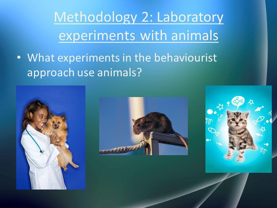 Methodology 2: Laboratory experiments with animals What experiments in the behaviourist approach use animals?