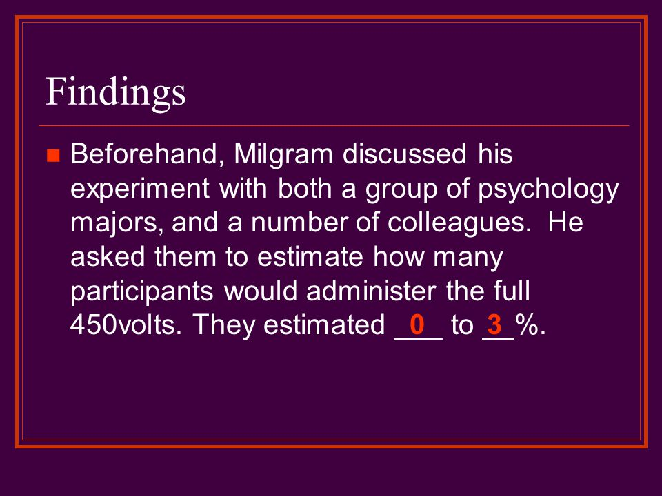 Findings Beforehand, Milgram discussed his experiment with both a group of psychology majors, and a number of colleagues. He asked them to estimate ho