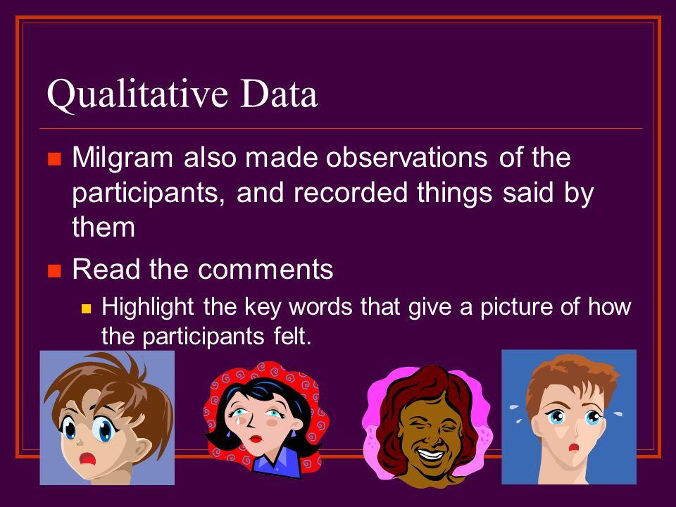 Qualitative Data Milgram also made observations of the participants, and recorded things said by them Read the comments Highlight the key words that give a picture of how the participants felt.