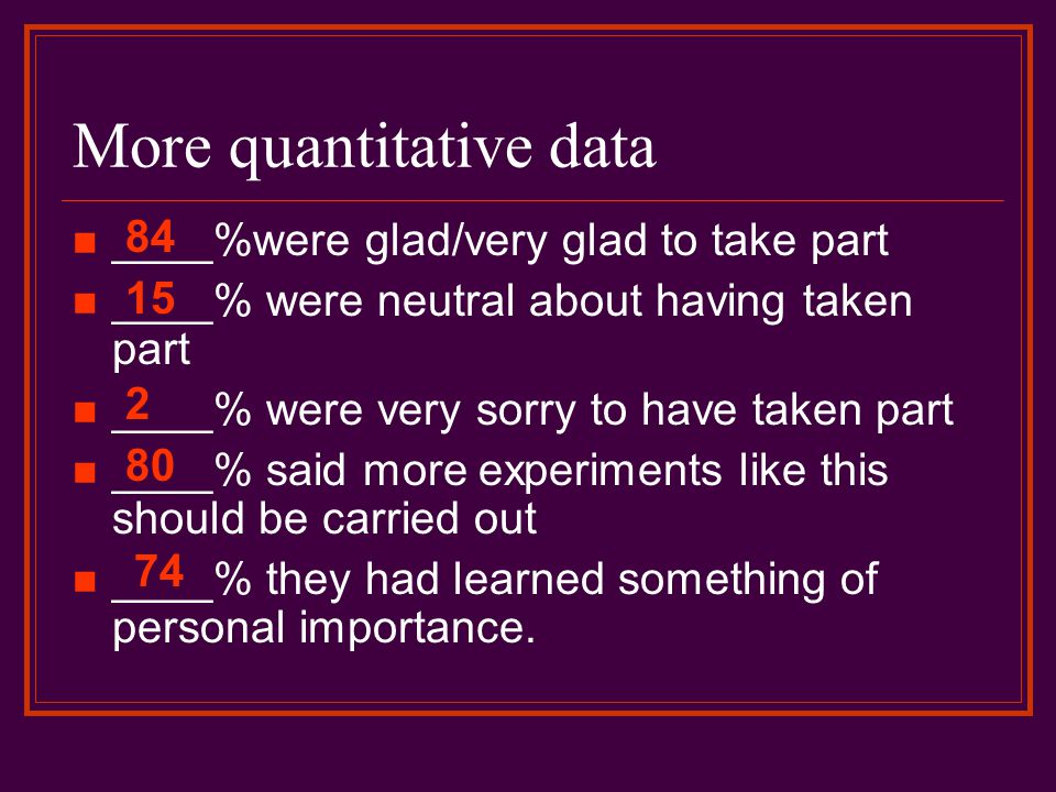 More quantitative data ____%were glad/very glad to take part ____% were neutral about having taken part ____% were very sorry to have taken part ____%