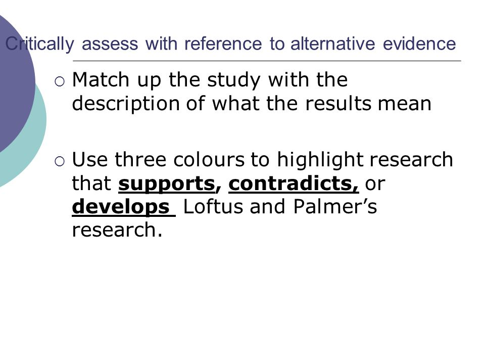 Evaluating the methodology  In pairs Method Reliability and sampling Validity Ethics  Speed learn