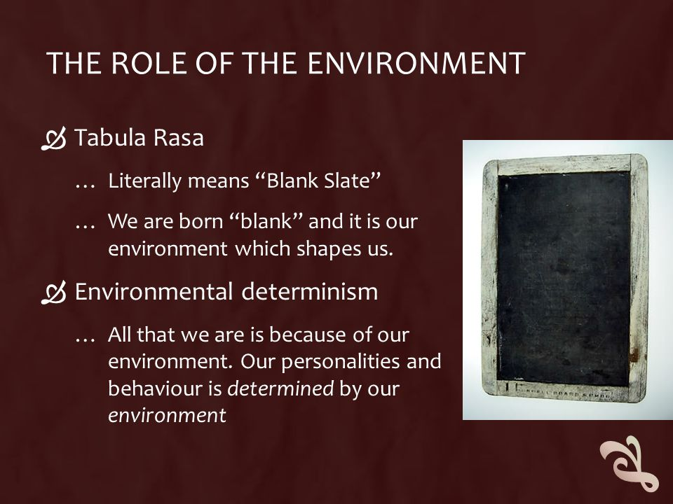 THE ROLE OF THE ENVIRONMENT  Tabula Rasa … Literally means Blank Slate … We are born blank and it is our environment which shapes us.