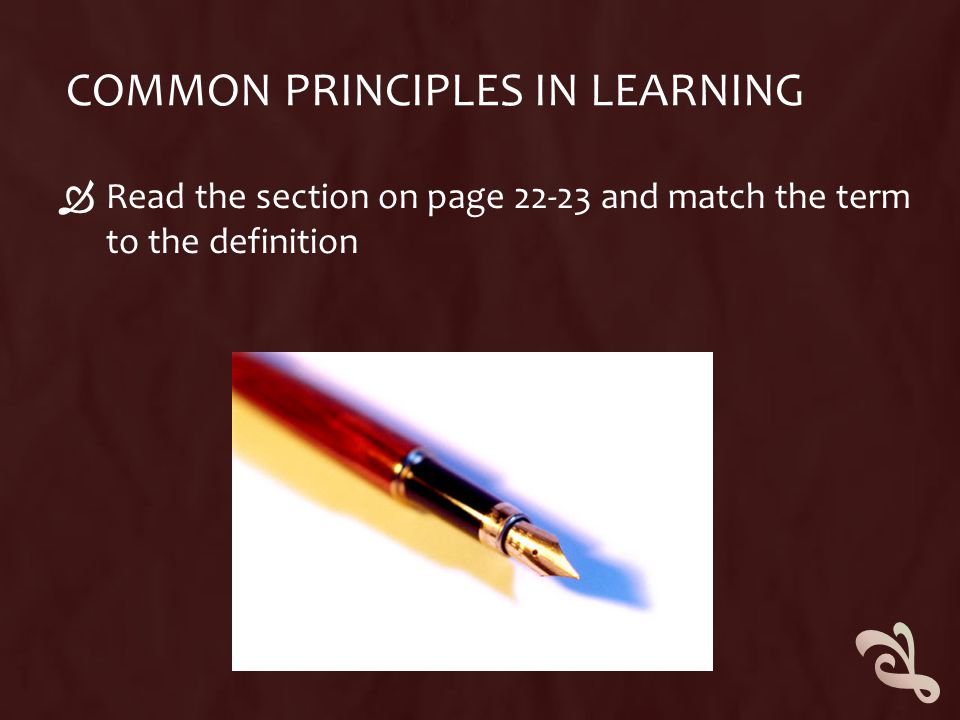 COMMON PRINCIPLES IN LEARNING  Read the section on page 22-23 and match the term to the definition