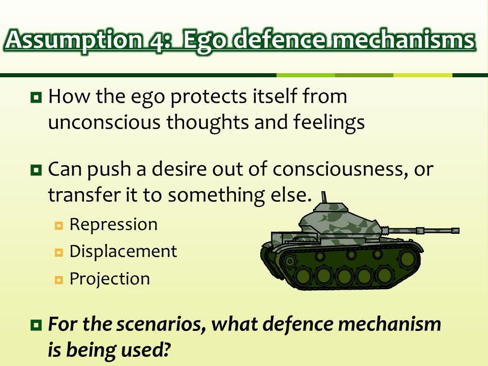  How the ego protects itself from unconscious thoughts and feelings  Can push a desire out of consciousness, or transfer it to something else.  Rep