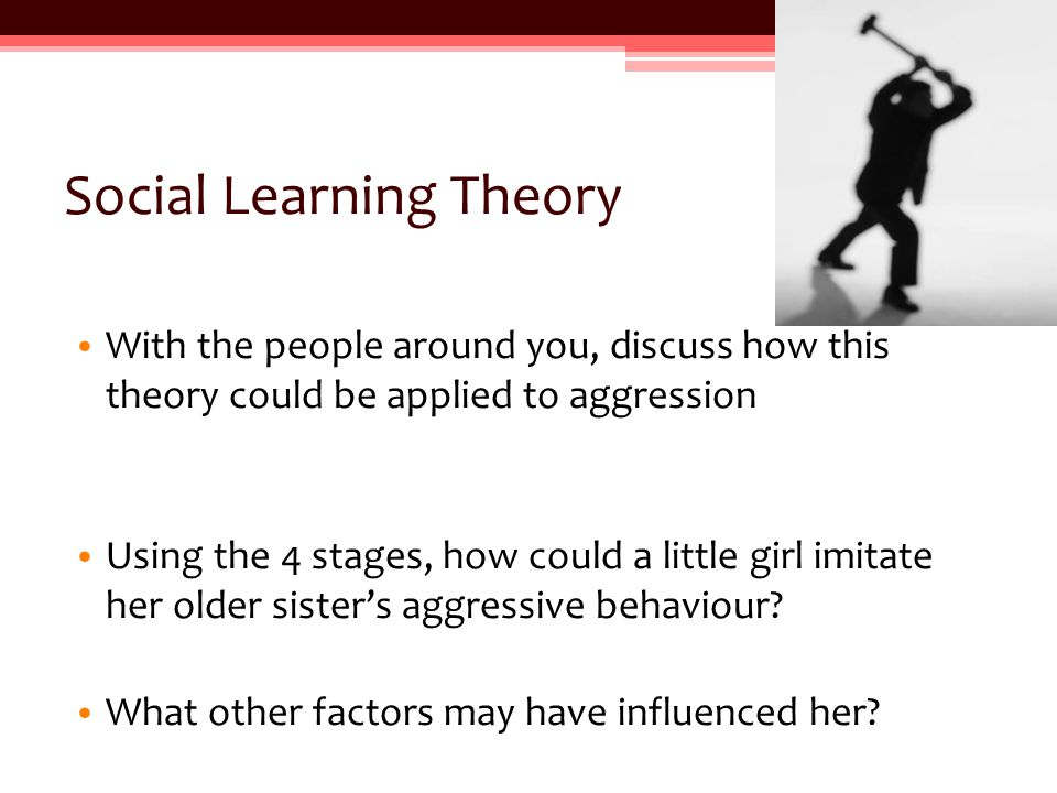 Evidence for social learning theory http://www.youtube.com/watch?v=vdh7MngntnI Write up experiment