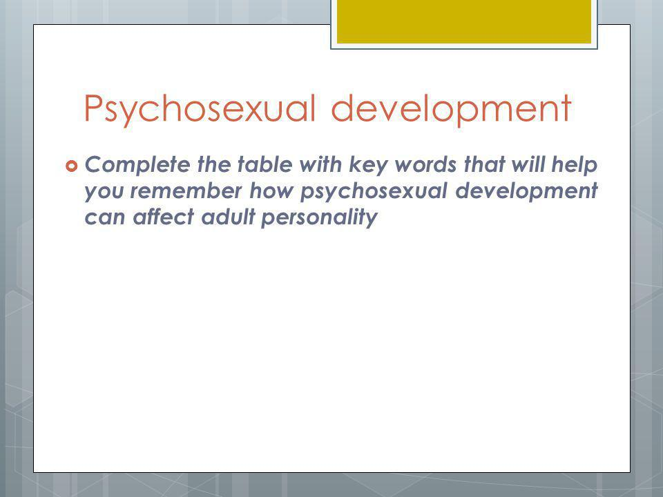 Psychosexual development  Complete the table with key words that will help you remember how psychosexual development can affect adult personality