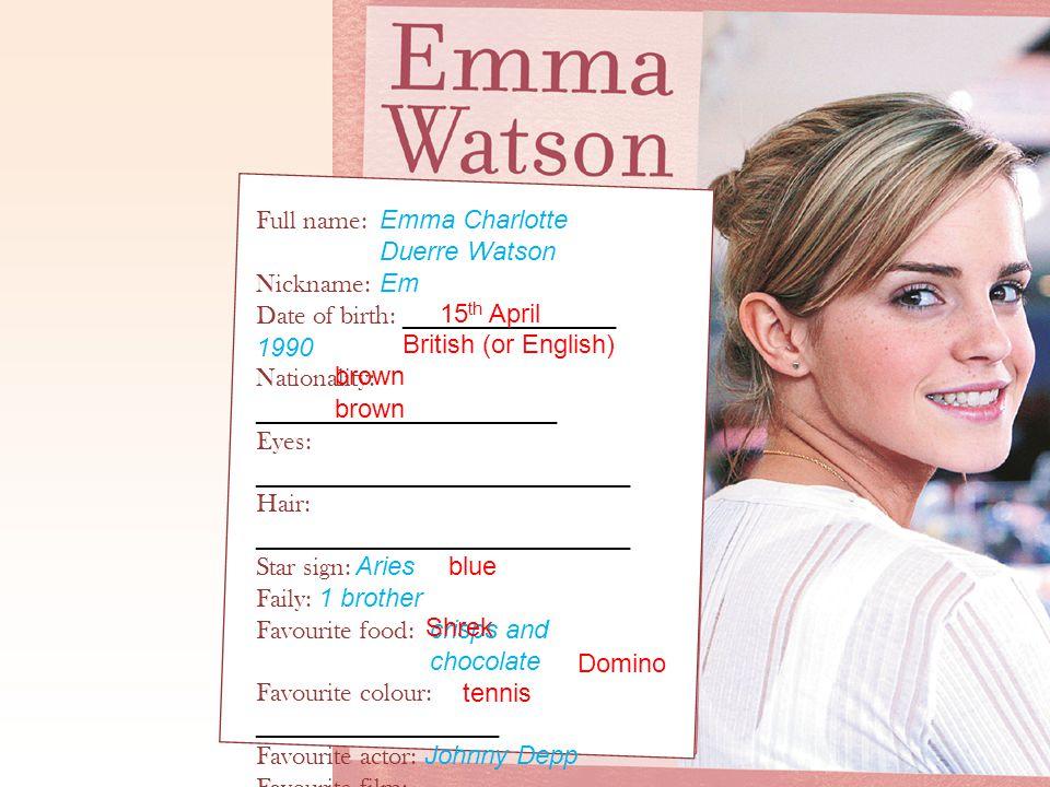 Full name: Emma Charlotte Duerre Watson Nickname: Em Date of birth: _______________ 1990 Nationality: _____________________ Eyes: ____________________