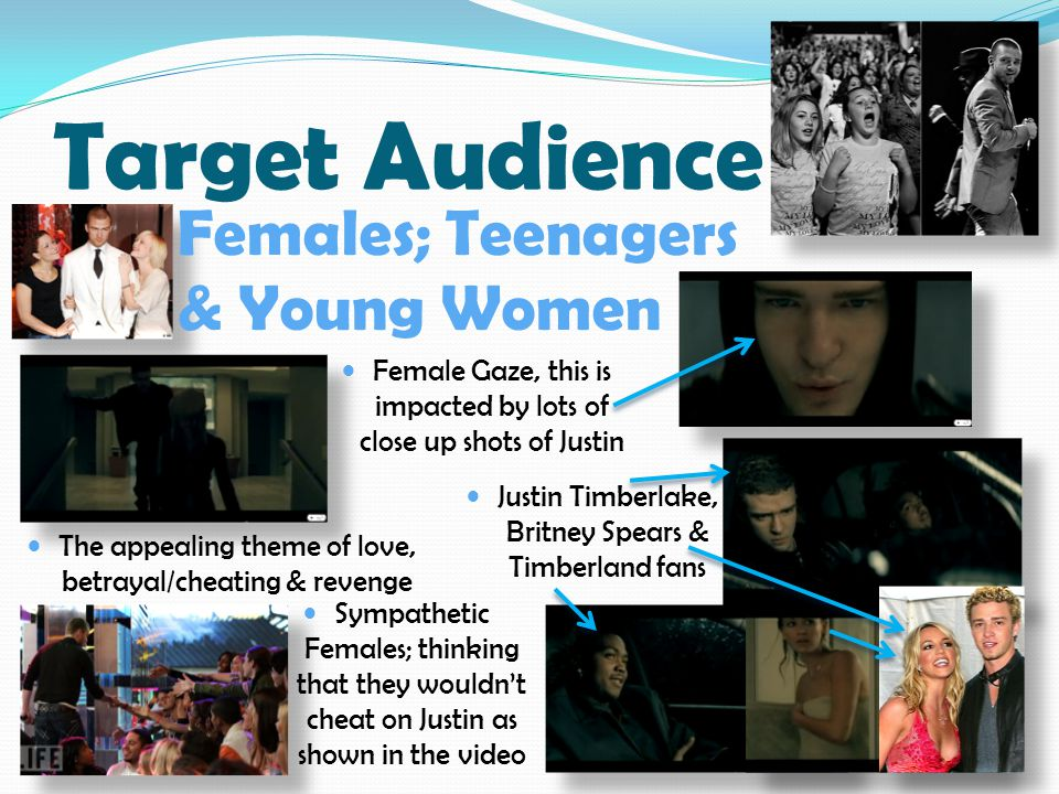 Target Audience Sympathetic Females; thinking that they wouldn't cheat on Justin as shown in the video The appealing theme of love, betrayal/cheating & revenge Justin Timberlake, Britney Spears & Timberland fans Female Gaze, this is impacted by lots of close up shots of Justin Females; Teenagers & Young Women