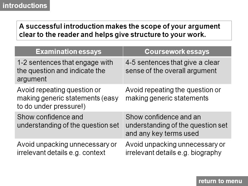 introductions A successful introduction makes the scope of your argument clear to the reader and helps give structure to your work.