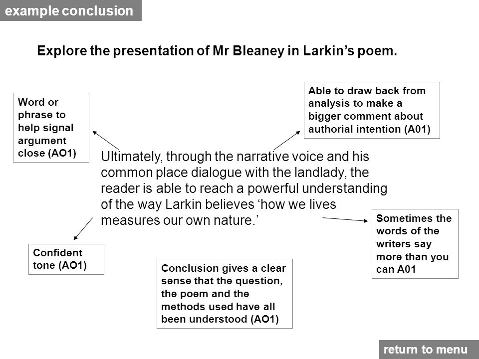 example conclusion Explore the presentation of Mr Bleaney in Larkin's poem.