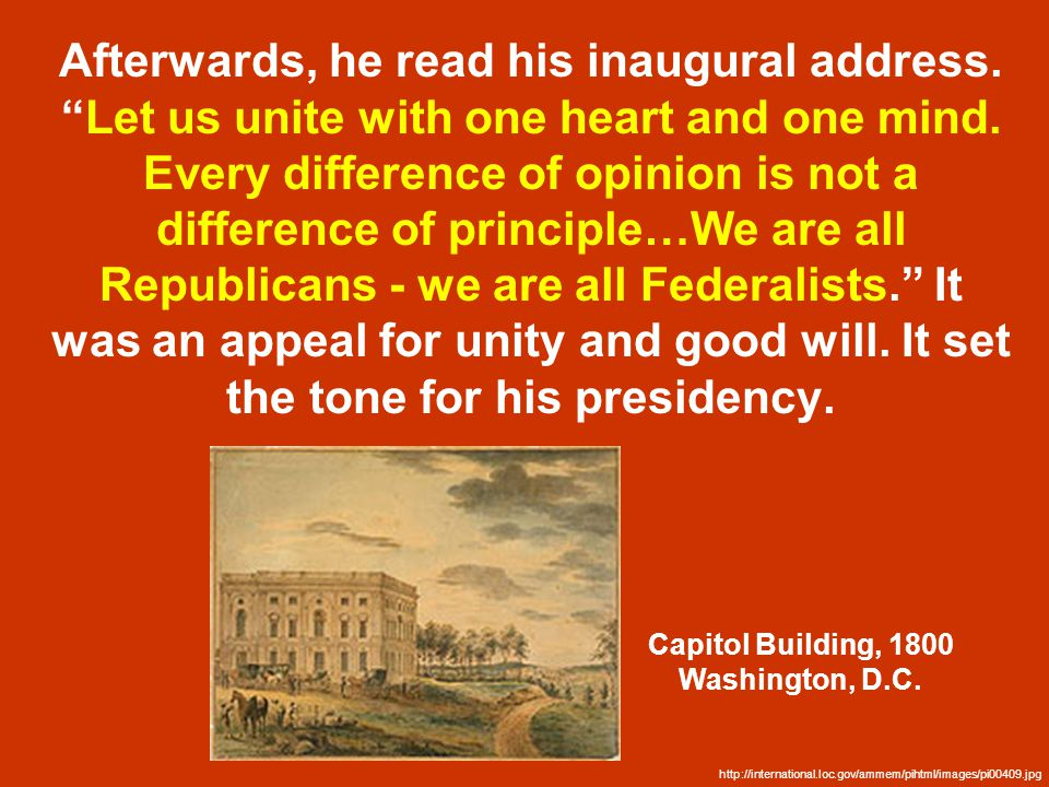 Afterwards, he read his inaugural address. Let us unite with one heart and one mind.