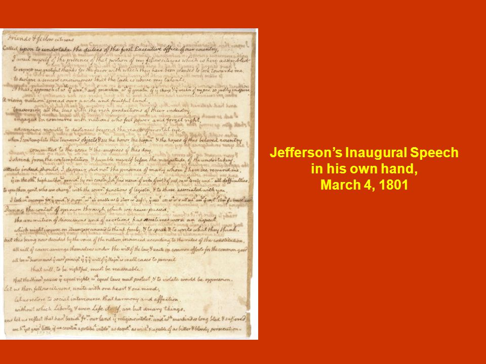 Jefferson's Inaugural Speech in his own hand, March 4, 1801