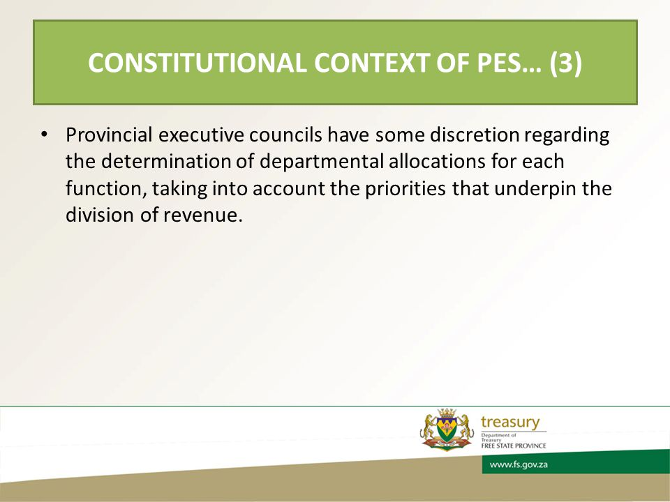 Provincial executive councils have some discretion regarding the determination of departmental allocations for each function, taking into account the priorities that underpin the division of revenue.