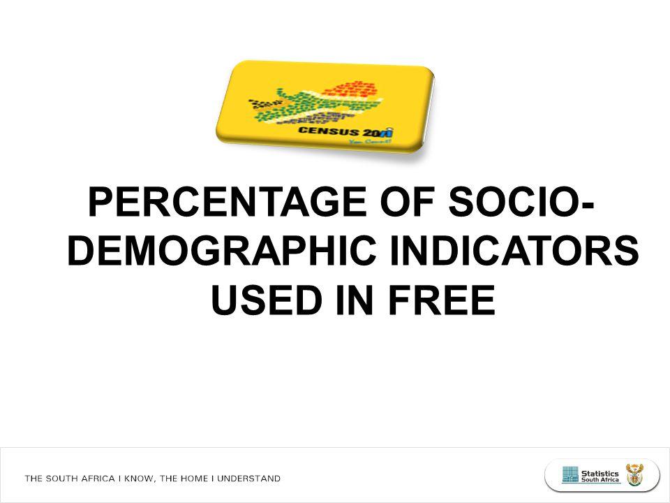 PERCENTAGE OF SOCIO- DEMOGRAPHIC INDICATORS USED IN FREE