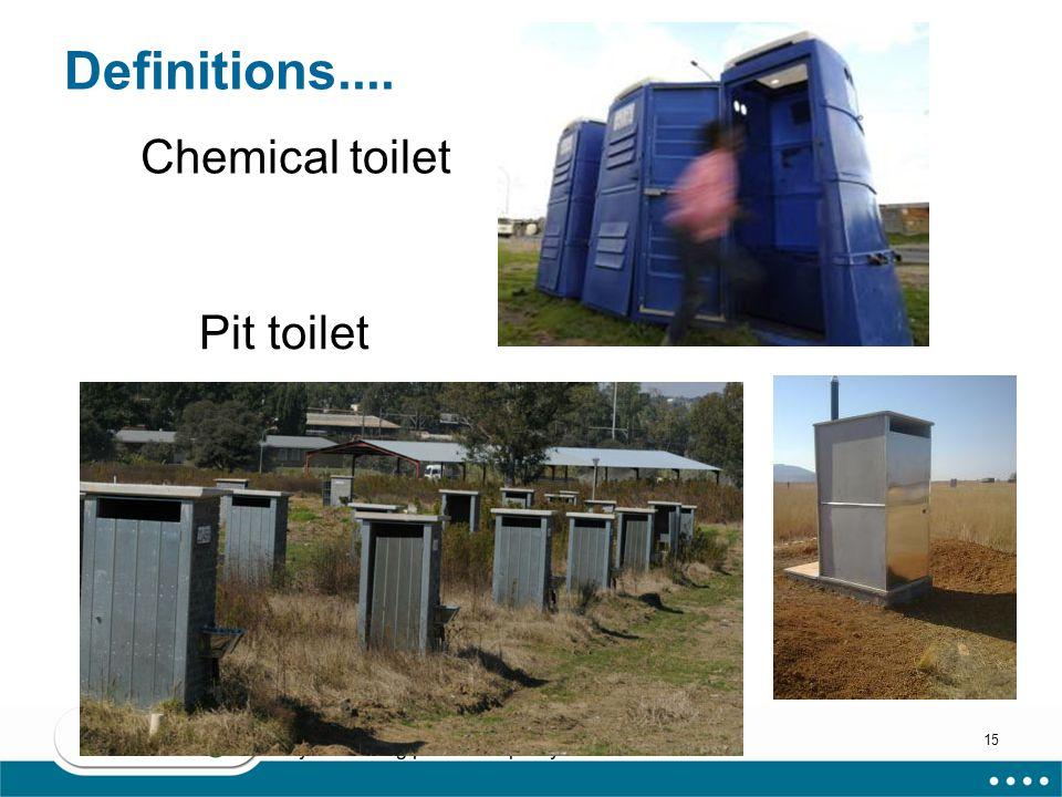 15 Definitions.... Chemical toilet Pit toilet