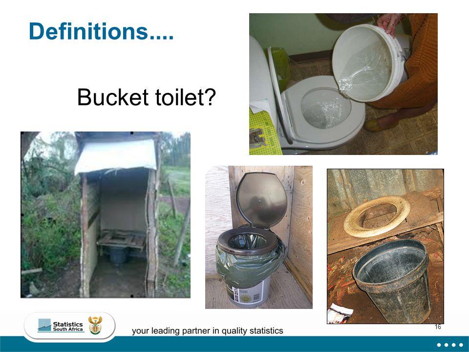 16 Definitions.... Bucket toilet?