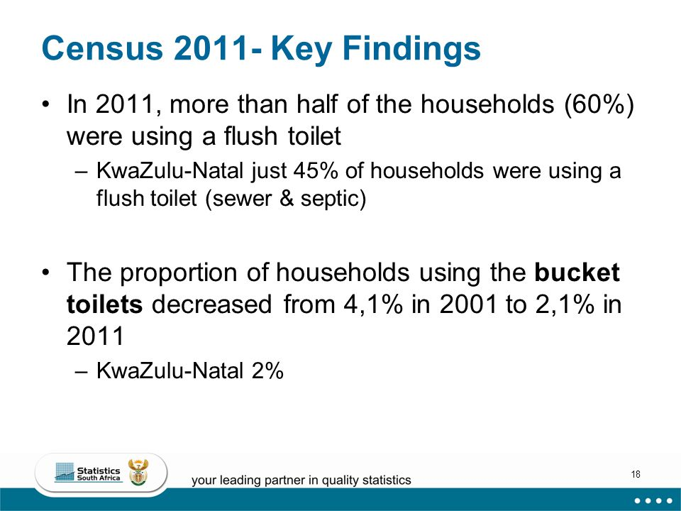 18 Census 2011- Key Findings In 2011, more than half of the households (60%) were using a flush toilet –KwaZulu-Natal just 45% of households were using a flush toilet (sewer & septic) The proportion of households using the bucket toilets decreased from 4,1% in 2001 to 2,1% in 2011 –KwaZulu-Natal 2%