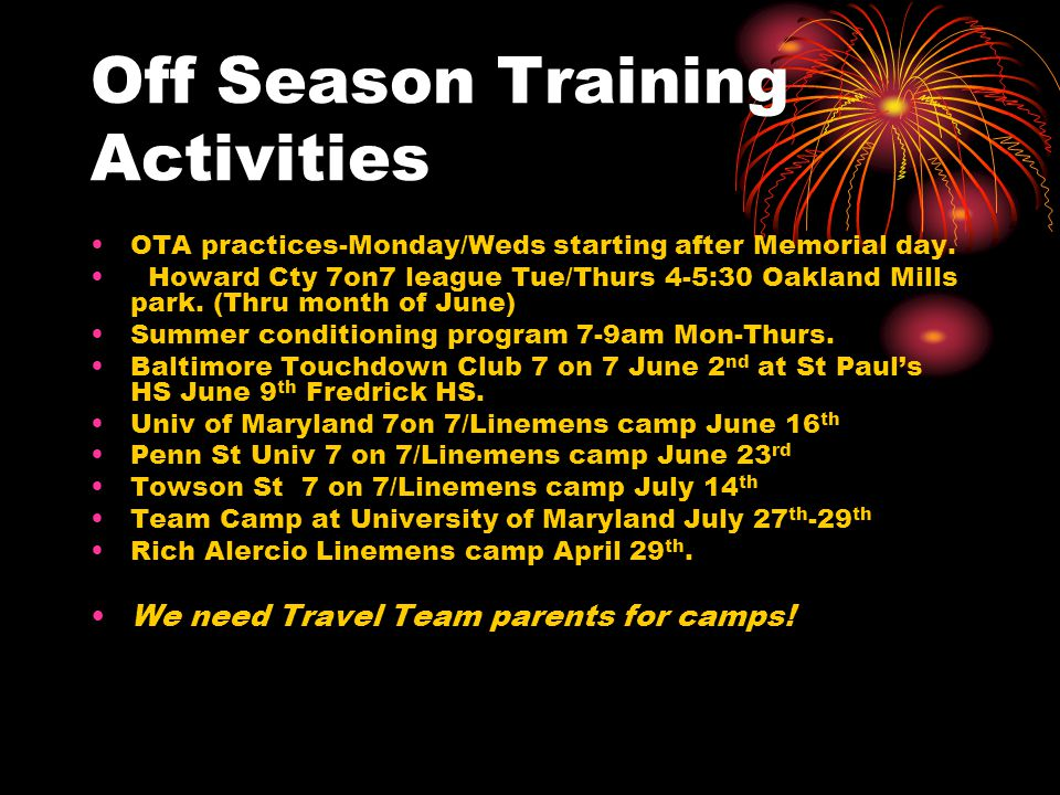 Off Season Training Activities OTA practices-Monday/Weds starting after Memorial day.