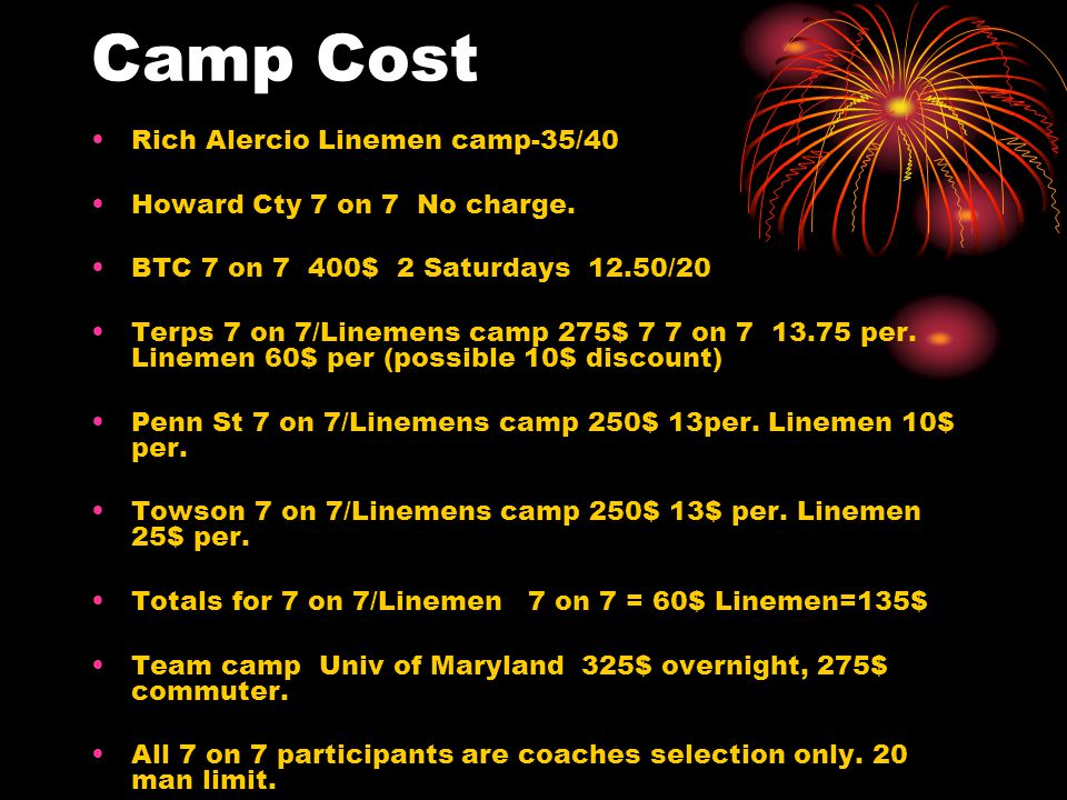 Camp Cost Rich Alercio Linemen camp-35/40 Howard Cty 7 on 7 No charge.