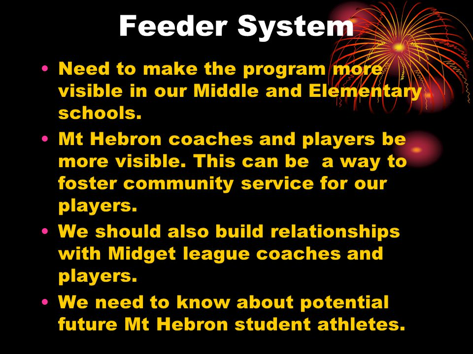 Feeder System Need to make the program more visible in our Middle and Elementary schools.