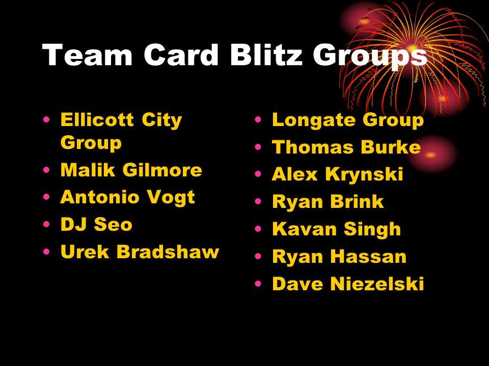 Team Card Blitz Groups Ellicott City Group Malik Gilmore Antonio Vogt DJ Seo Urek Bradshaw Longate Group Thomas Burke Alex Krynski Ryan Brink Kavan Singh Ryan Hassan Dave Niezelski